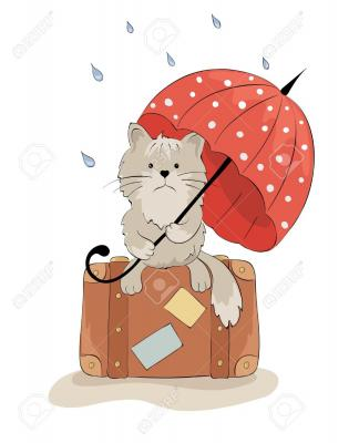 13160552 sad cat with an umbrella stock vector cartoon 1